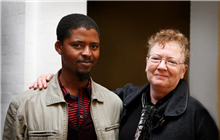 Pam Warne with Standard Bank Young Artist Nicholas Hlobo